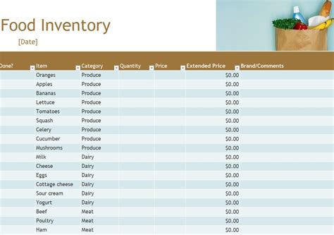 food inventory list template food inventory food inventory spreadsheet