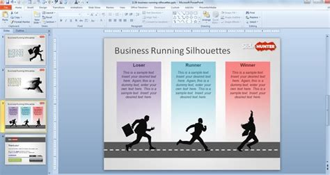 running powerpoint template free business running silhouettes powerpoint template