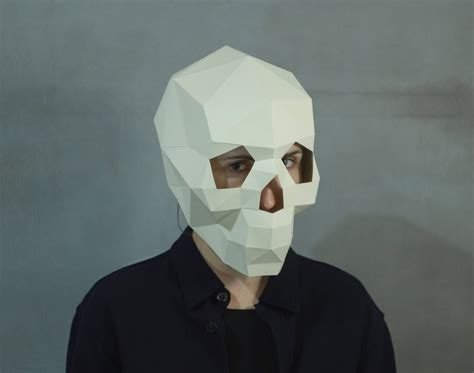 Paper Masks - make skull mask 3d mask pdf pattern masks polygon diy