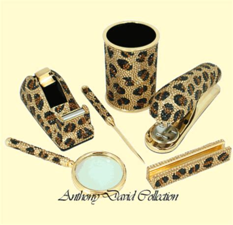 animal print desk accessories leopard office