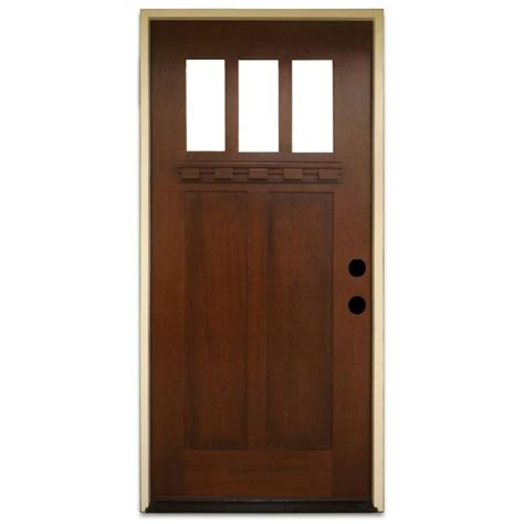 Pre Stained Interior Doors Steves Sons 36 In X 80 In Shaker 3 Lite Stained Mahogany Wood Prehung Front Door Home