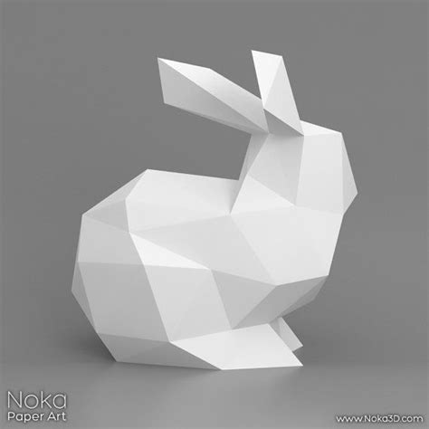3d Model To Papercraft - bunny 3d papercraft model downloadable diy template