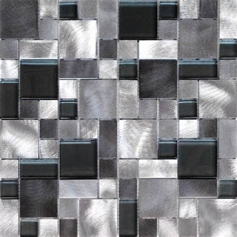Mosaic Tile For Kitchen Backsplash 1sf Black Gray Pattern Aluminum Stainless Mosaic Tile
