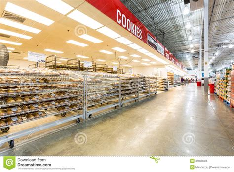 bakery aisle in a costco store editorial stock image