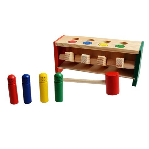 bench games children s toddlers educational toy wooden game hammering