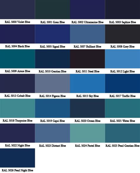 shades of blue chart ral colour chart warwick glass