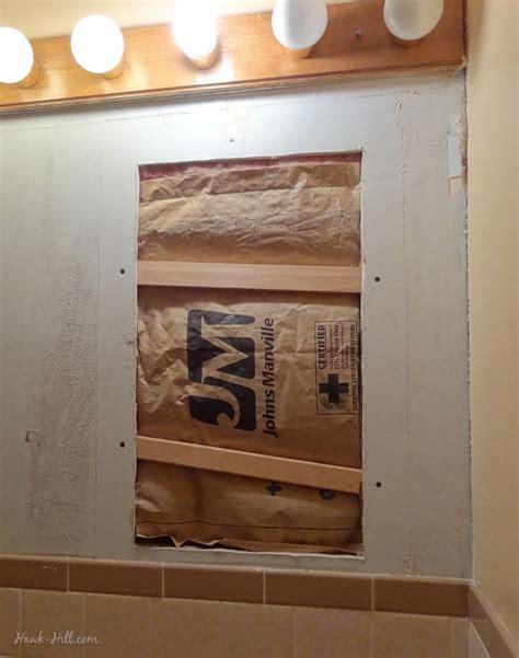 bathroom wall repair diy drywall repair where large medicine cabinet was
