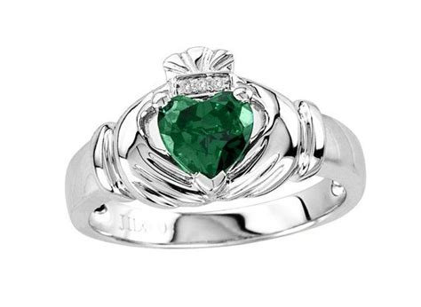 s emerald claddagh ring with 3 genuine diamonds in
