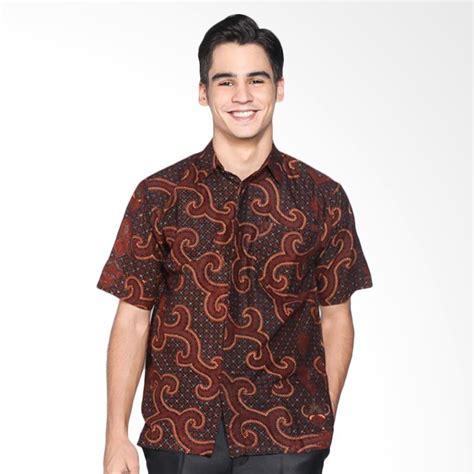 Kemeja Pria Lengan Pendek 007 jual batik distro k8061 kemeja pria jarik lengan pendek coklat harga kualitas