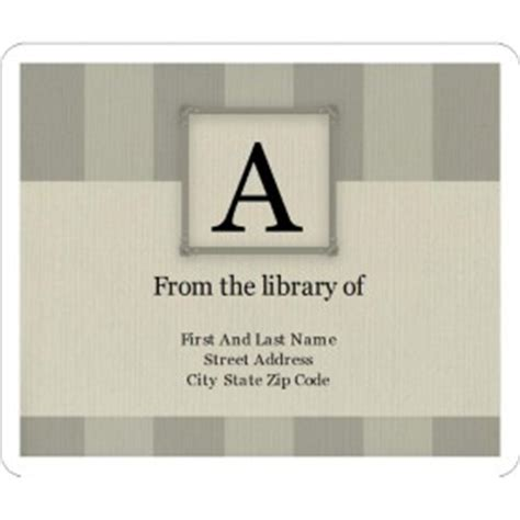 bookplate templates for word templates monogram bars bookplate label 6 per sheet avery