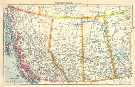 road map western canada and usa americas 1914 western canada vintage