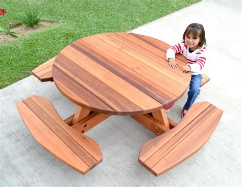 kids wooden picnic bench kid size round wood picnic table kit forever redwood