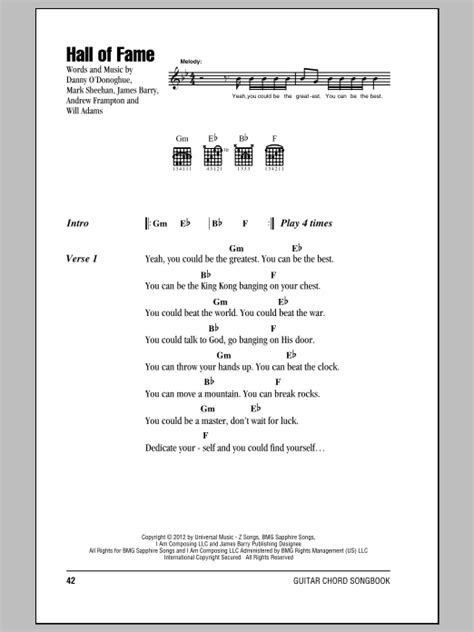 printable lyrics hall of fame hall of fame feat will i am sheet music by the script