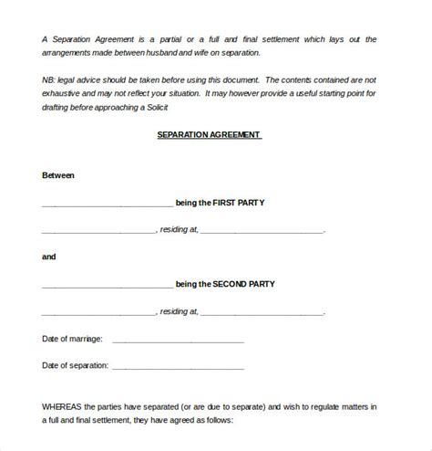 divorce agreement template 10 separation agreement templates free sle exle