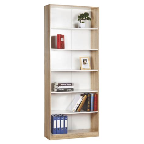 6 shelf bookcase oak and white ebay bookcase