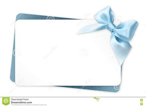 White Label Gift Cards - gift card with blue ribbon bow isolated on white stock illustration image 71721972