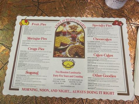 house of pies menu store front foto di house of pies houston tripadvisor