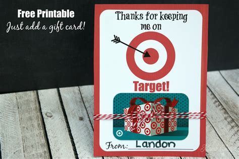 Free Target Gift Card - thanks for keeping me on target free printable gift card holder mama cheaps