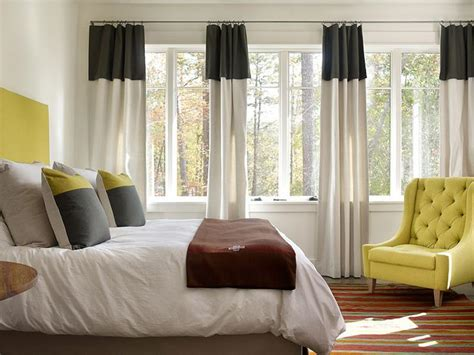 banded drapes black banded curtains contemporary bedroom