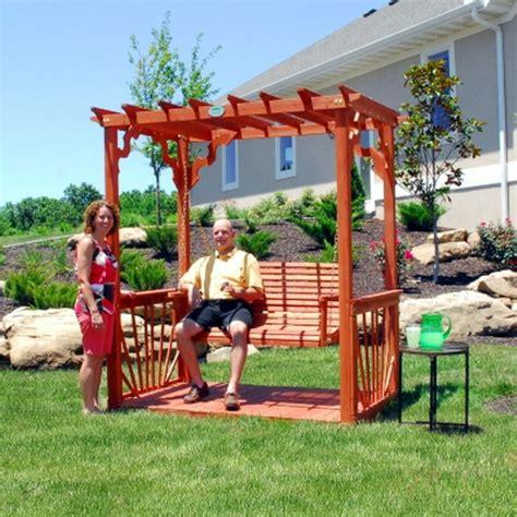 freestanding porch swing new outdoor 7 wooden cedar wood pergola yard garden porch