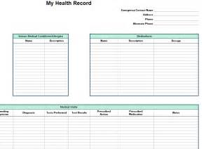 personal medication record template personal health record template personal health record