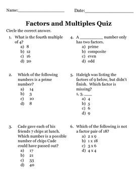 Printable Prime And Composite Numbers Quiz | factors multiples prime and composite numbers quiz by