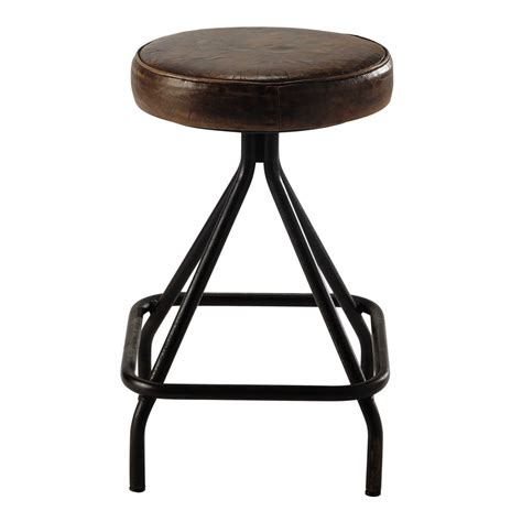 What Does A Brown Stool allen metal and brown leather stool maisons du monde