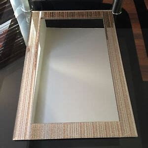 gold glitter stripped wall mirror bathroom mantle