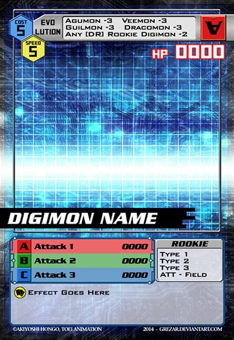 digimon card template by grezar on deviantart