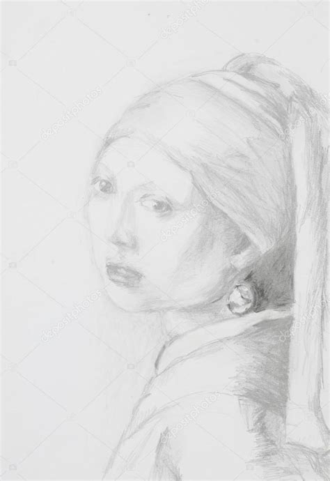 Girl with pearl earring, pencil drawing — Stock Photo