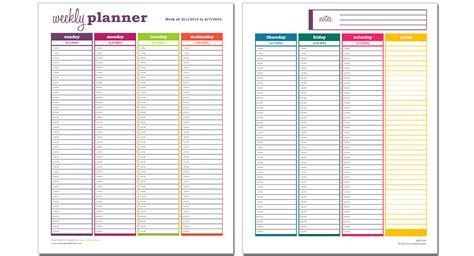 Basic Weekly Planner Excel Template Savvy Spreadsheets Weekly Agenda Template