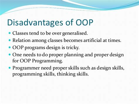 design thinking disadvantages object oriented programming