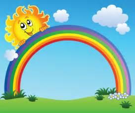 Tall Window Curtains Cartoon Scenery With Rainbow