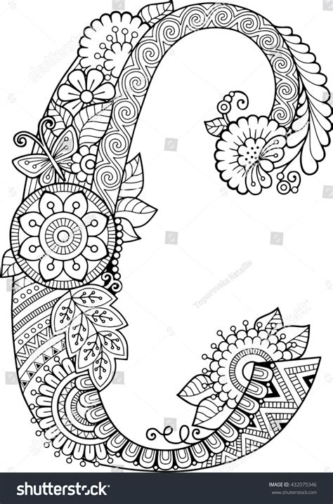 Or Adults Coloring Book Adults Floral Doodle Letter Stock Vector 432075346