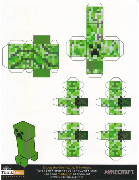 Creeper Papercraft - minecraft paper craft paper crafts ideas for
