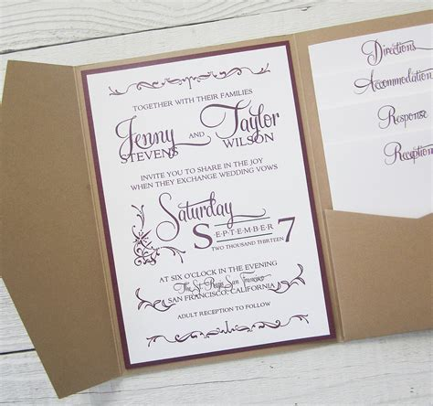wedding invitation with pocket rustic kraft wedding invitation pocket country by