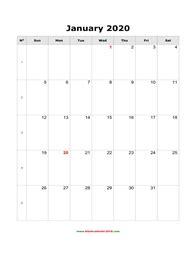blank monthly calendar  portrait