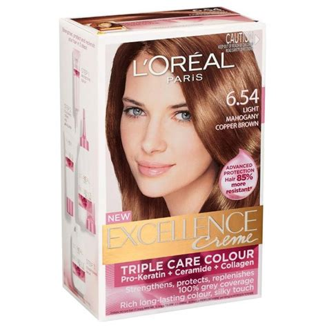 shoo that lightens hair color l oreal excellence creme 6 54 light mahogany cooper brown
