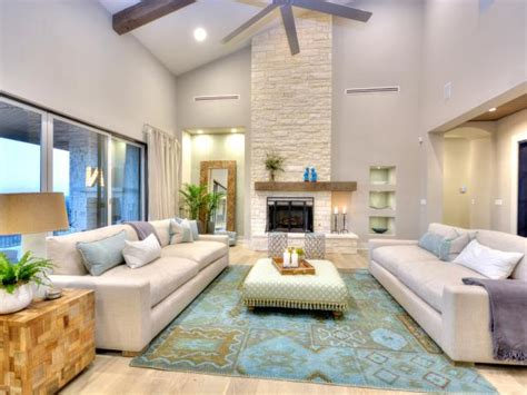 beautiful contemporary living room features high ceilings