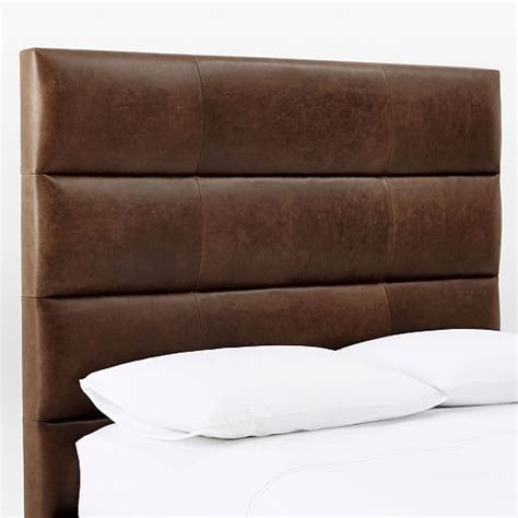 west elm leather headboard panel tufted premium leather headboard west elm