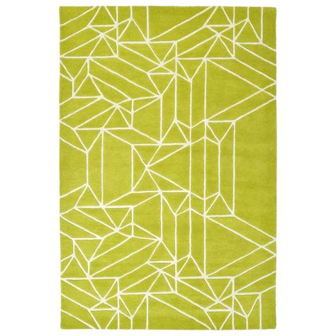 lime green throw rug shop kaleen origami lime green indoor handcrafted inspirational throw rug common 2 x 3 actual