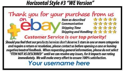 100 ebay seller custom personalized 5 star dsr reminder