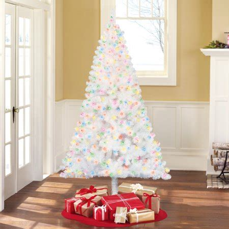 holiday time pre lit 65 madison pine white artificial christmas tree clear lights time pre lit 6 5 pine white artificial tree multi lights walmart