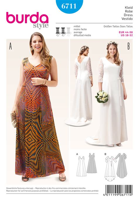 sewing pattern plus size burda 6711 misses and plus size dress sewing pattern
