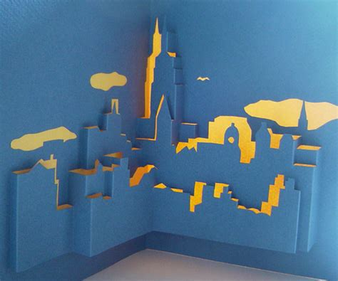 city pop up card template nyc skyline