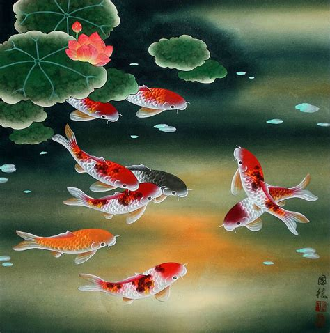 koi fish lotus nine koi fish and lotus flowers painting asian koi fish
