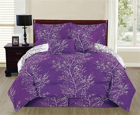purple and white comforter sets purple white comforter set 6 piece king size reversible