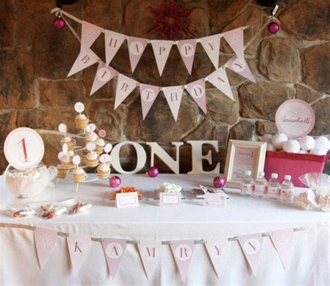 themes first birthday party baby girl winter onederland birthday party theme baby girl s first