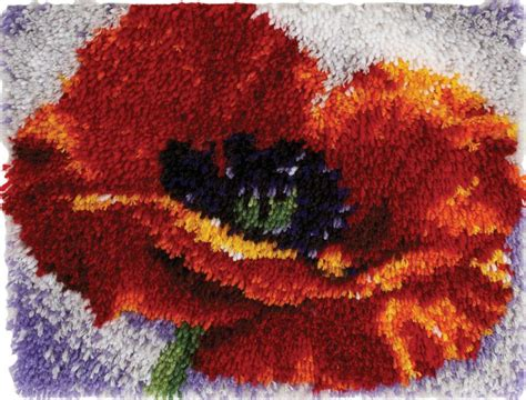 latch and hook rug poppy latch hook rug kit 15 quot x 20 quot caron wonderart new 426118 163 21 95 picclick uk