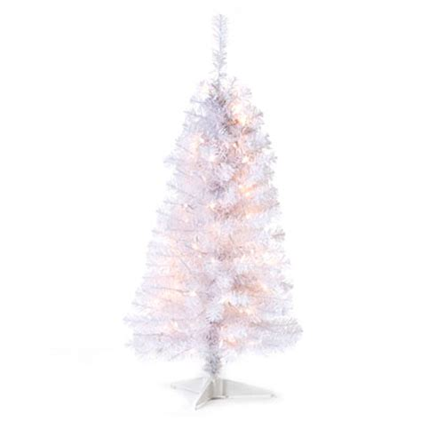 view 4 pre lit artificial christmas tree white tinsel